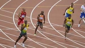 Finale du 200 m aux jeux olympiques remporté par Usain Bolt. Christophe Lemaitre finit à la 6e place.