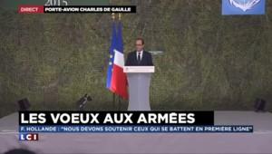 """Vœux aux armées : Hollande regrette que """"la Communauté Internationale n'ait pas agi plus tôt"""" en Syrie"""