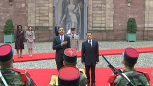Barack Obama et Nicolas Sarkozy à Strasbourg, le 3 avril 2009