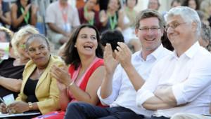 Christiane Taubira, Cécile Duflot, Pascal Canfin et Philippe Martin lors de l'université d'été des Verts à Marseille