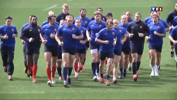 Mondial de rugby : les Bleus à l'entraînement à la veille du match qu'ils devaient remporter contre les Gallois