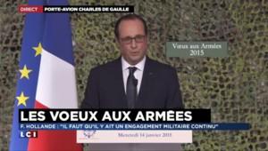 """Vœux aux armées : Hollande veut """"revoir"""" et """"adapter"""" le rythme de réductions des effectifs"""