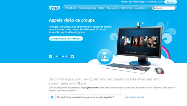 Capture d'écran du site de Skype, mai 2011.