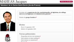 Capture d'écran le 8 juillet 2011 du profil du sénateur Jacques Mahéas sur le site du Sénat