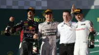01 / Grand Prix d'Australie - 1er : Nico Rosberg (Mercedes), 2e : Daniel Ricciardo (Red Bull), 3e : Kevin Magnussen (McLaren).