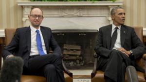 Le Premier ministre ukrainien par interim Arseni Iatseniuk reçu par Barack Obama à la Maison Blanche