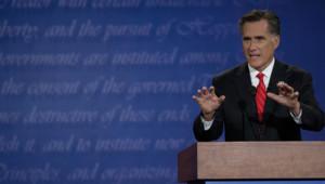 Mitt Romney, lors de son premier débat télévisé face à Barack Obama, le 3/10/12, à Denver