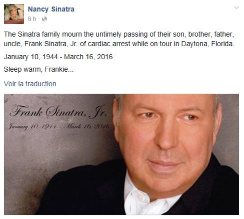 Nancy, la fille de Franck Sinatra, a annoncé le décès de son frère, Franck Sinatra Junior, sur Facebook.