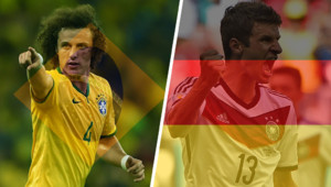 David Luiz et Müller se rencontrent pour Brésil Allemagne en demi-finale de la coupe du monde 2014