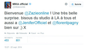 The Voice 4 - Mika tweete pour Zazie