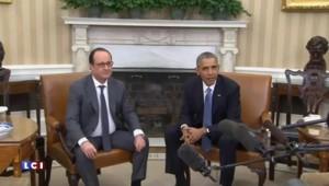 Coalition internationale : Hollande et Obama réunis dans le bureau ovale de la Maison Blanche