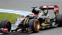 Pastor Maldonado inaugure la Lotus E23 à moteur Mercedes aux essais F1 de Jerez (Espagne) le 2 février 2015