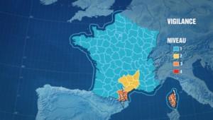 4 départements placés en vigilances aux orages dimanche 20 novembre 2011.