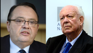 Le député socialiste Patrick Mennucci à gauche et le maire sortant UMP Jean-Claude Gaudin à Marseille, à droite.