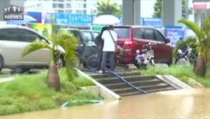 Typhon Dianmu: la ville chinoise d'Haikou sous les eaux