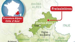 Carte de Freissinières, dans les Hautes-Alpes.