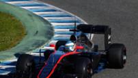 Fernando Alonso inaugure la McLaren MP4-30 à moteur Honda aux essais F1 de Jerez (Espagne) le 1er février 2015