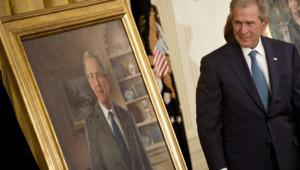 George W. Bush découvre son portrait officiel d'ancien président américain, Maison-Blanche, 31/5/12