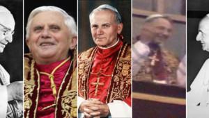 Photomontage, de g. à d. : Jean XVII, Benoît XVI, Jean-Paul II, Jean-Paul I, Paul VI