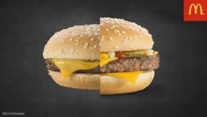 Capture d'écran de la vidéo montrant les dessous des photographies des hamburgers McDonald's