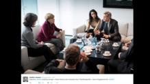 George Clooney, Amal Clooney et Angela Merkel le 12 février 2016 à Berlin.