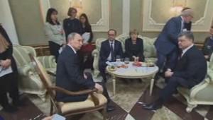 Hollande, Merkel, Poutine Porochenko à Minsk