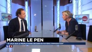 """Immigration : """"J'ai envie de rendre le pouvoir au peuple français"""" lance Marine Le Pen"""