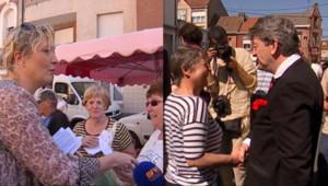 Marine Le Pen et Jean-Luc Mélenchon en campagne sur le même marché à Hénin-Beaumont le même jour sans se croiser, le 25 mai 2012