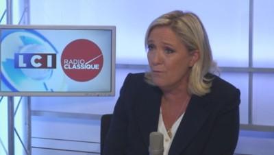 Marine Le Pen sur le plateau de LCI-Radio Classique, le 02/09/15.