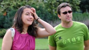 Cécile Duflot et Xavier Cantat lors de l'université d'été des Verts en 2008