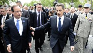 François Hollande et Nicolas Sarkozy le 8 mai 2012.