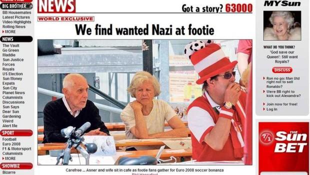 Georg Aschner, alias Milivoj Asner, criminel de guerre croate réfugié en Autriche, photographié par Le Sun (16 juin 2008)