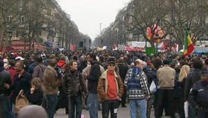 La manifestation en soutien au LKP à Paris, le 21 février 2009