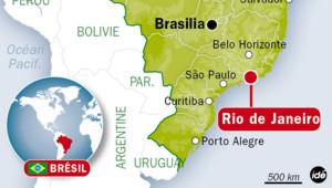 Carte de Rio de Janeiro au Brésil.