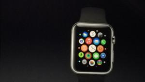 La montre connectée d'Apple, la Watch, lors de la keynote de septembre 2014