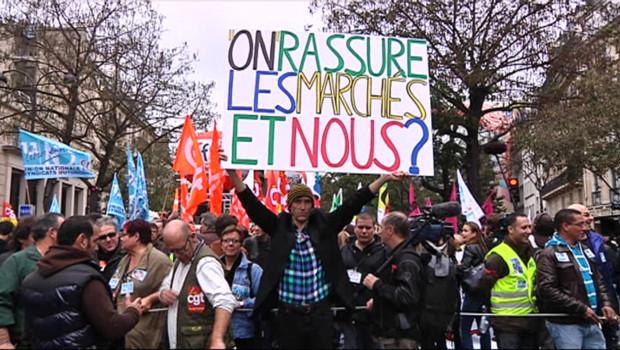 Manifestation contre l'austérité à Paris le 11 octobre 2011.