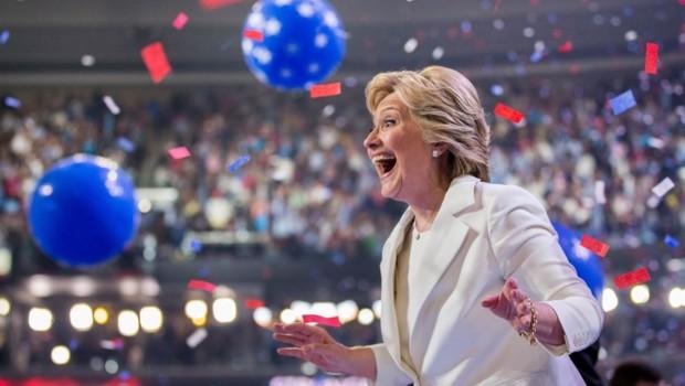 Hillary Clinton lors de son discours d'investiture à la convention démocrate