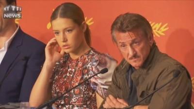 """Sean Penn, le visage fermée, à la conférence de presse de son film """"The last face"""""""