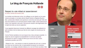 Capture écran du blog de François Hollande (8 novembre 2008)