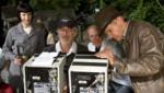 Steven Spielberg et Harrison Ford sur le tournage d'Indiana Jones et le Royaume du Crâne de Cristal.