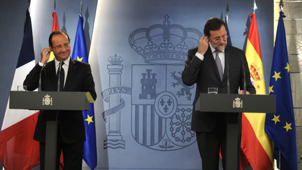 Le prsident Franois Hollande et le Premier ministre espagnol Mariano Rajoy, jeudi 30 aot 2012,  Madrid.