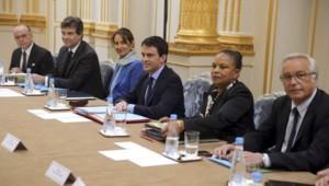 Le premier ministre Manuel Valls lors du premier Conseil des ministres le 4 avril 2014.