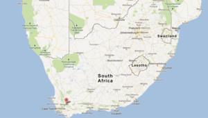 Carte de l'Afrique du Sud avec De Doorns