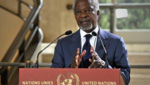 Kofi Annan s'exprimant sur les violences en Syrie depuis Genève, après une vidéoconférence avec le Conseil de sécurité de l'Onu (8 mai 2012)