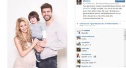 """Shakira pose avec son compagnon Gérard Piqué et leur fils Milan pour sa """"baby shower"""" virtuelle en faveur de l'Unicef."""