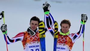 Steve Missillier et Alexis Pinturault ont conquis l'argent et le bronze du slalom géant à Sotchi. (19/02/2014)