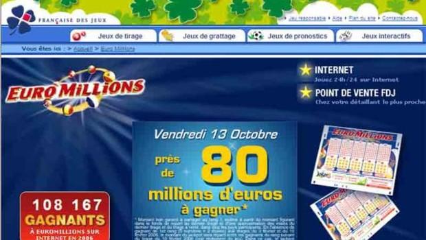 TF1/LCI : Capture écran du site de la Française des Jeux annonçant la cagnotte d'Euro Millions