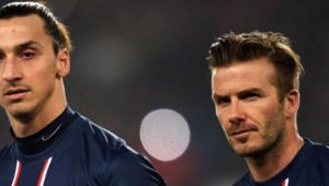 Les joueurs du PSG David Beckham et Zlatan Ibrahimovic