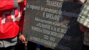Le syndicat Force ouvrière d'ArcelorMittal à Florange, avait enterré symboliquement les promesses non tenues de François Hollande concernant l'avenir de leur usine.