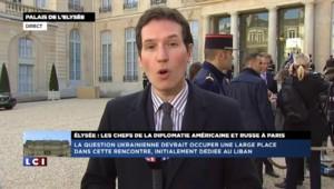 Réunion diplomatique à l'Elysée : aparté sur l'Ukraine entre François Hollande, John Kerry et Sergueï Lavrov
